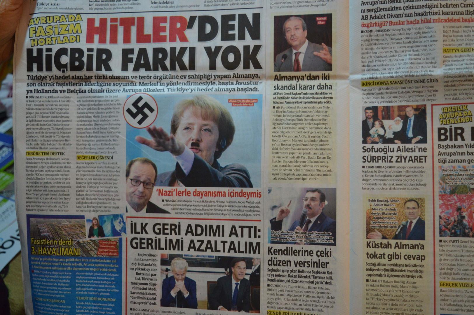 """Türkische Zeitung widmet Cover """"Frau Hitler"""" Merkel"""