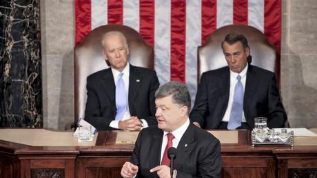 Der ukrainische Präsident Petro Poroschenko tritt am 18. September 2014 während der gemeinsamen Sitzung beider Häuser des US-Kongresses auf.