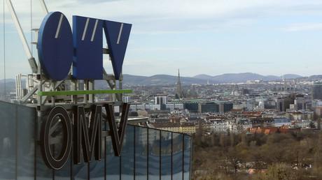 Logo des österreichischen Energieunternehmens OMV auf dem Gebäude des Hauptquartier in Wien.