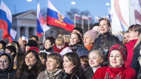 Feierlichkeiten in Simferopol am ersten Jahrestag des Krim-Referendums  am 16. März 2015.