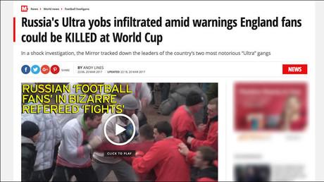 Britische Zeitung Mirror gibt Volksfest in Moskau für Fanschlägerei aus