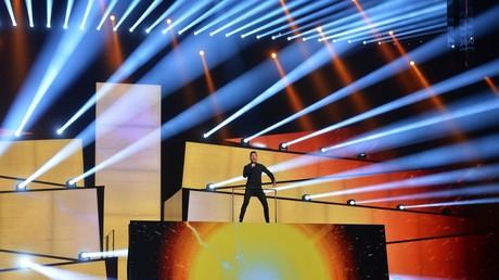 Der russische Teilnehmer Sergej Lasarew während der Proben zum Finale des 61. internationalen Wettbewerbs European Song Contest am 13. Mai 2016 in Stockholm.