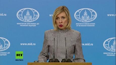 Die Sprecherin des russischen Außenministeriums, Maria Sacharowa bei ihrer Pressekonferenz am Donnerstag.