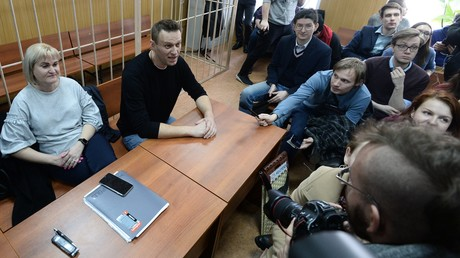 Alexej Nawalny bei seiner Anhörung vor einem Moskauer Gericht am 27. März 2017 zur Organisation und Durchführung einer nicht genehmigten Kundgebung.
