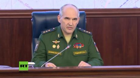 Sergei Rudskoi gibt Briefing zur Lage in Syrien in Moskau.