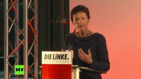 Sahra Wagenknecht bei ihrer Rede auf der Konferenz der Linke zum Thema