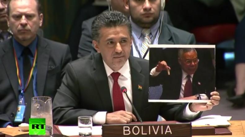 UN-Gesandter Boliviens führt USA im Sicherheitsrat wegen Syrien-Angriff vor