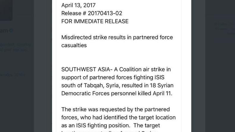 Pentagon: US-Koalition hat bei Luftangriff in Syrien irrtümlich 18 Rebellen getötet