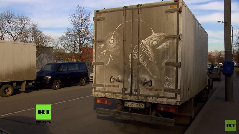 Graffiti war gestern! Moskauer Street-Art-Künstler veredelt dreckige LKWs