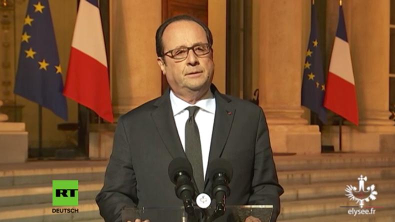 Hollande hält Ansprache nach Terrorakt in Paris.