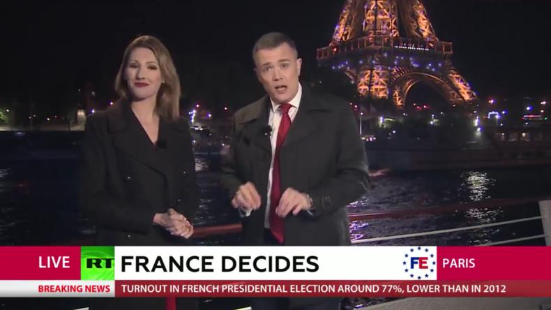 Live-Berichterstattung von RT International anlässlich der Präsidentschaftswahl in Frankreich