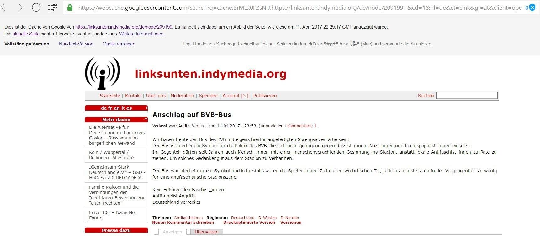 BVB-Angriff: Behörden prüfen islamistischen Hintergrund