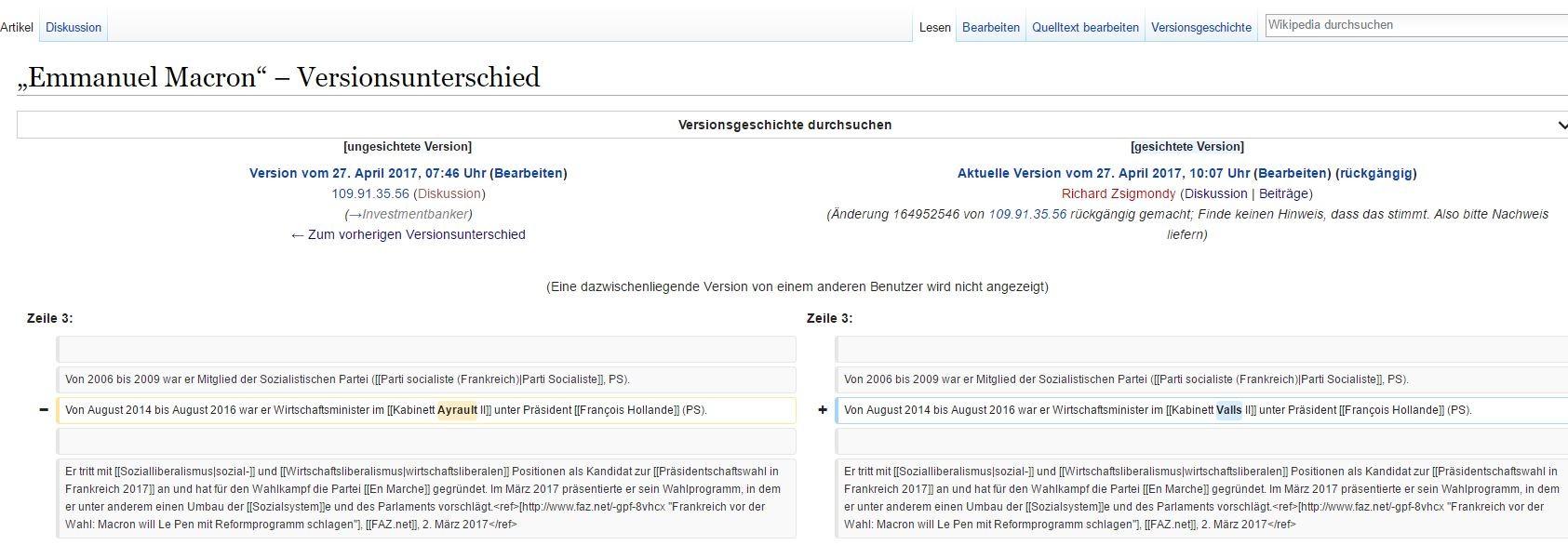 Deutscher Wikipedia-Eintrag zu Emmanuel Macron wirft Fragen auf
