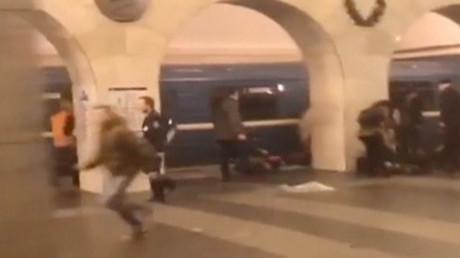 Ausschnitt aus einem Video nach dem Attentat in der Sankt Petersburger U-Bahn; Russland, 3. April 2017