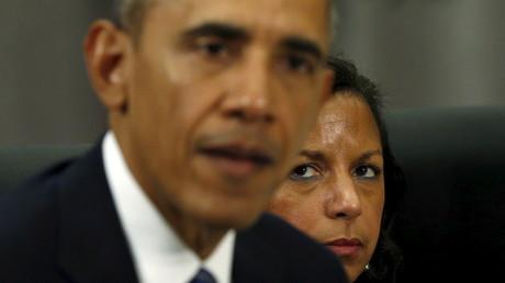 Die Sicherheitsberaterin von US-Präsident Barack Obama, Susan Rice, während eins Treffens mit dem französischen Präsidenten François Hollande in Washington am 31. März 2016.