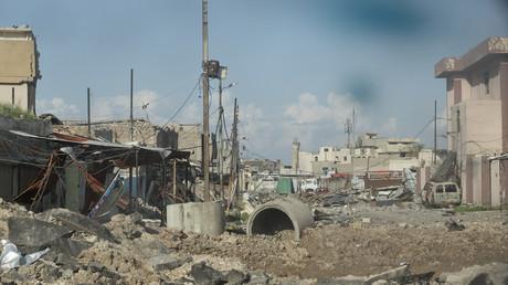 Straßenzug im zerstörten Mossul, 2. April 2017