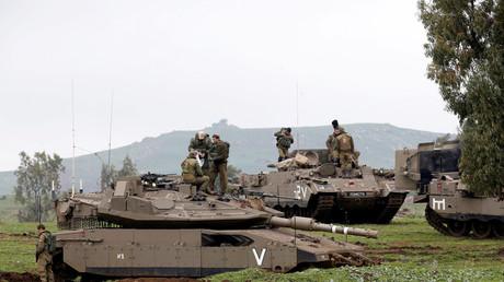 Israelische Soldaten nehmen an einer Übung in den von Israel eingenommenen Golanhöhen zwischen Israel und Syrien teil; 20. März 2017.