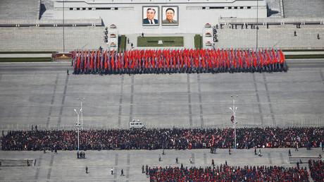 Nordkorea probt für die Parade auf dem Kim Il-sung Platz im Zentrum von Pjöngjang; Nordkorea, 12. April 2017