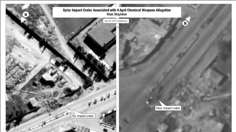 Aufnahmen des US-Verteidigungsministeriums, auf denen vermeintlich der Einschlagskrater des syrischen Giftgas-Angriffs zu sehen sei.