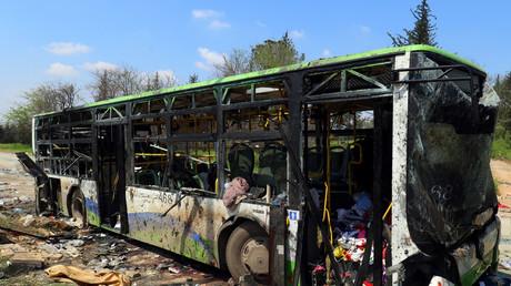 Von einem Selbstmordattentäter zerstörter Bus in von