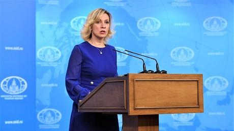 Maria Sacharowa während des wöchentlichen Briefings im Außenministerium am 19. April 2017.