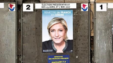 Plakat mit der Präsidentschaftskandidatin Marin Le Pen, 10. April 2017.