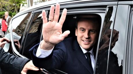 Der Präsidentschaftskandidat Emmanuel Macron am Wahltag am 23. April 2017.