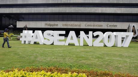 Der Schriftzug ASEANs außerhalb des Konferenzzentrums in Manila, Philippinen, 25. April 2017.