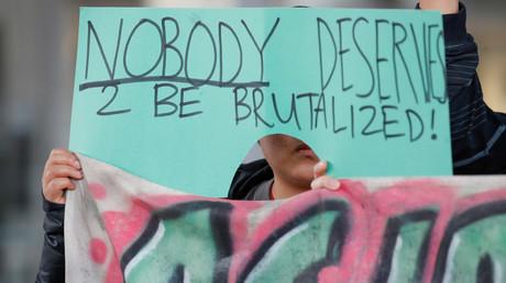 Proteste gegen die schlechte Behandlung David Daos in Illinois, USA, 11. April 2017.