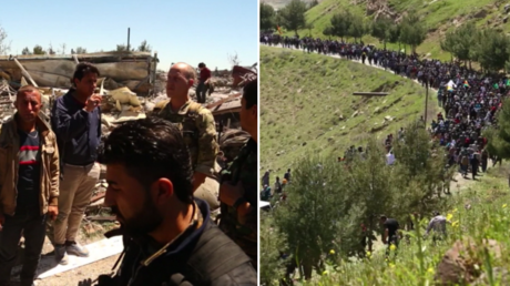 Links: US-Soldaten lassen sich von kurdischen Militärs die Schäden nach türkischen Luftangriffen zeigen.  Rechts: Hunderte Kurden protestieren gegen türkische Luftangriffe.