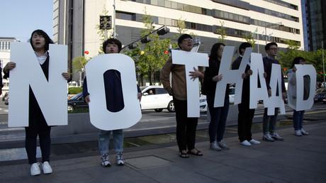 Eine Demonstration gegen THAAD in Seoul, Südkorea, 27. April 2017