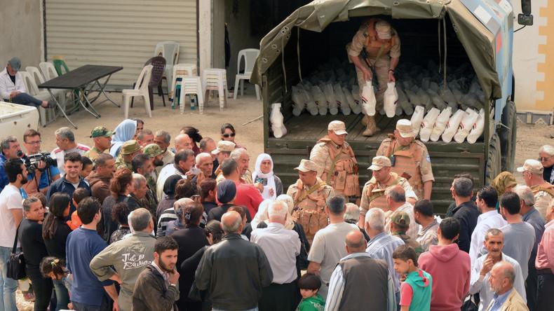 Russland übergibt Syrien drei Tonnen Hilfsgüter