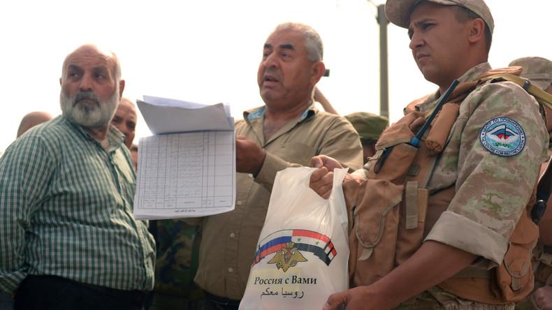 Russland verteilt Hilfsgüter unter fast 1.500 Syrern