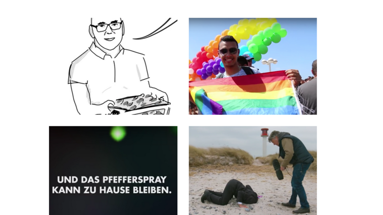 Bildausschnitte aus Wahlspots der LINKEN, SPD, AfD und der Grünen.