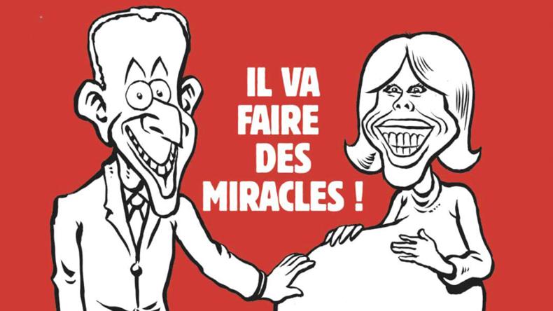 Charlie Hebdo lacht Gattin des neugewählten Präsidenten Frankreichs Macron aus
