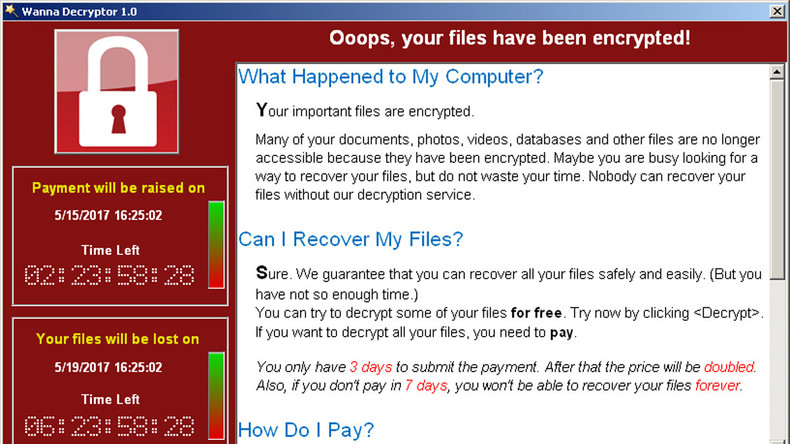 """US-Regierung blieb von Cyber-Attacke """"Wanna Cry"""" verschont"""