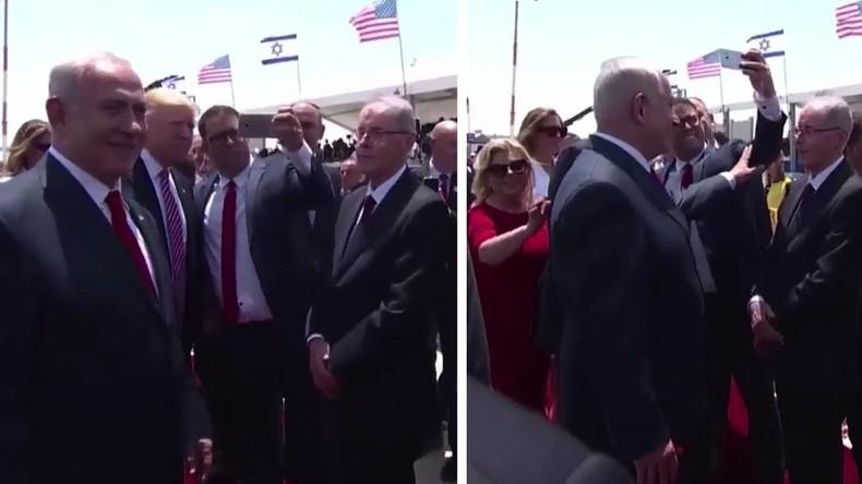 Israelischer Politiker will Selfie mit Trump – Ministerpräsident Netanyahu schiebt ihn beiseite