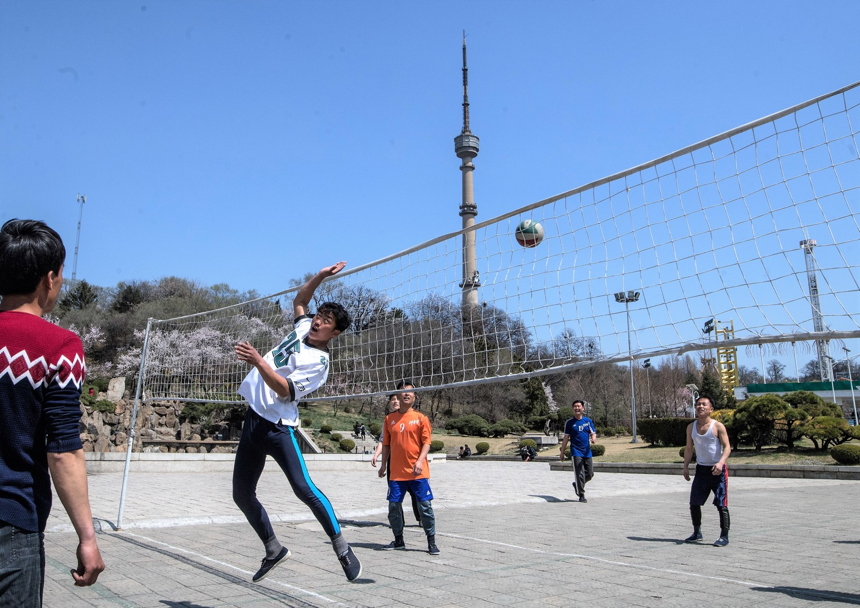 Junge Menschen spielen Volleyball in der Nähe des Fernsehturms.