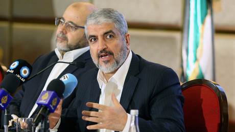 Hamas Führer Khaled Meschal bei der Präsentation der neuen politischen Leitlinie der Hamas in Doha, Katar, 1. Mai 2017.