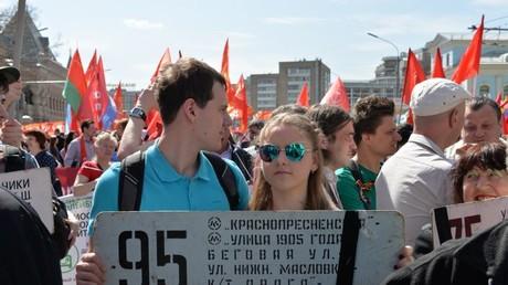 Demonstranten in Moskau gegen Abschaffung der Trolleybusse