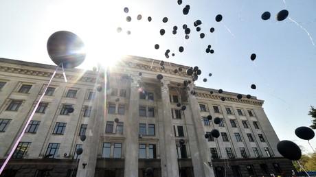 Inzwischen traditionelle Gedenkveranstaltung am 2. Mai 2017 vor dem Gewerkschaftshaus in Odessa.
