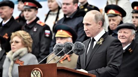 Der russische Präsident Wladimir Putin während seiner Rede zum Tag des Sieges am Roten Platz am 9. Mai 2017.