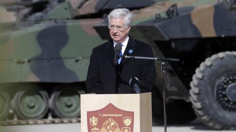 Der britische Verteidigungsminister Michael Fallon vertritt natürlich auch Wirtschaftsinteressen, insbesondere der Rüstungsindustrie, 20. April 2017.