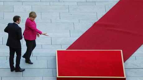 Bundeskanzlerin Angela Merkel und der französische Präsident Emmanuel Macron in Berlin; Deutschland, 15. Mai 2017.