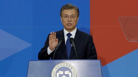 Der südkoreanische Präsident Moon Jae-in bei seinem Amtseid, Seoul; Südkorea, 10. Mai 2017.