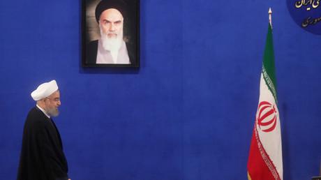 Der wiedergewählte iranische Präsident Hassan Rouhani vor seiner Pressekonferenz in Teheran; Iran, 22. Mai 2017.
