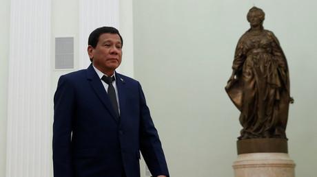 Der philippinische Präsident Rodrigo Duterte in Moskau. In Russland bat der seit Juni 2016 amtierende Staatschef um Waffen im Kampf gegen den Terror; Moskau, Russland, 23. Mai 2017.
