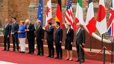 Vertreter der G7-Staaten und der EU in Taormina auf Sizilien, 26. Mai 2017.