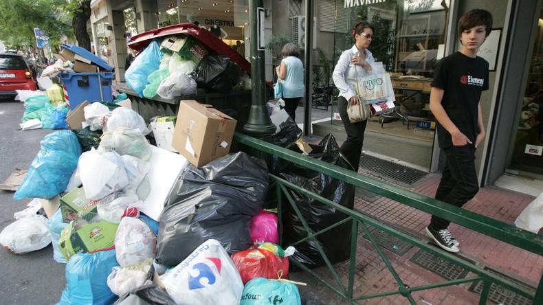 Stinkende Müllberge in Griechenland wegen Streiks der Müllabfuhr