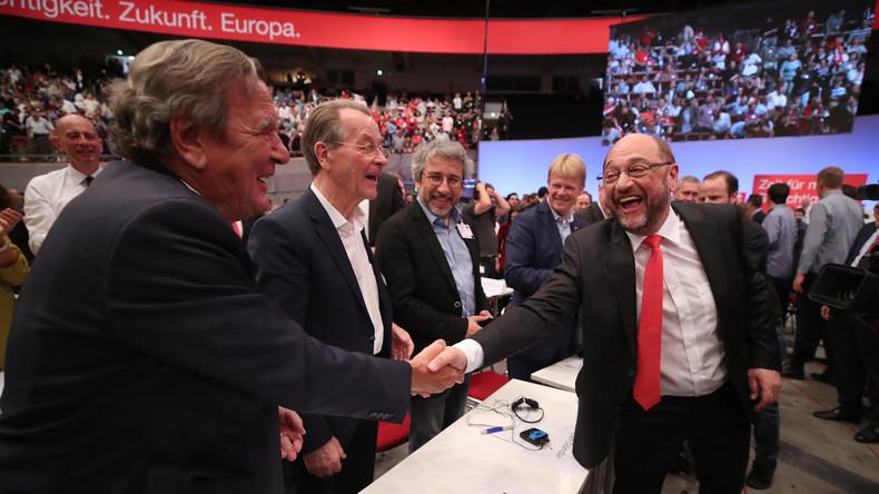 SPD-Parteitag gegen Merkel und AfD unter begleitenden Protesten